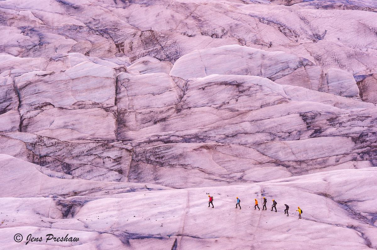 Svinafellsjokull Glacier, ice, crevasses, guide, hikers, Vatnajokull National Park, Ring Road, Kirkjubaejarklaustur, South Iceland, summer, photo