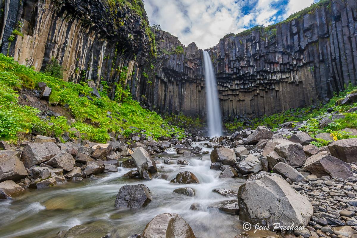 Svartifoss, Waterfall, Basalt Columns, Vatnajokull National Park, South Iceland, Summer, photo
