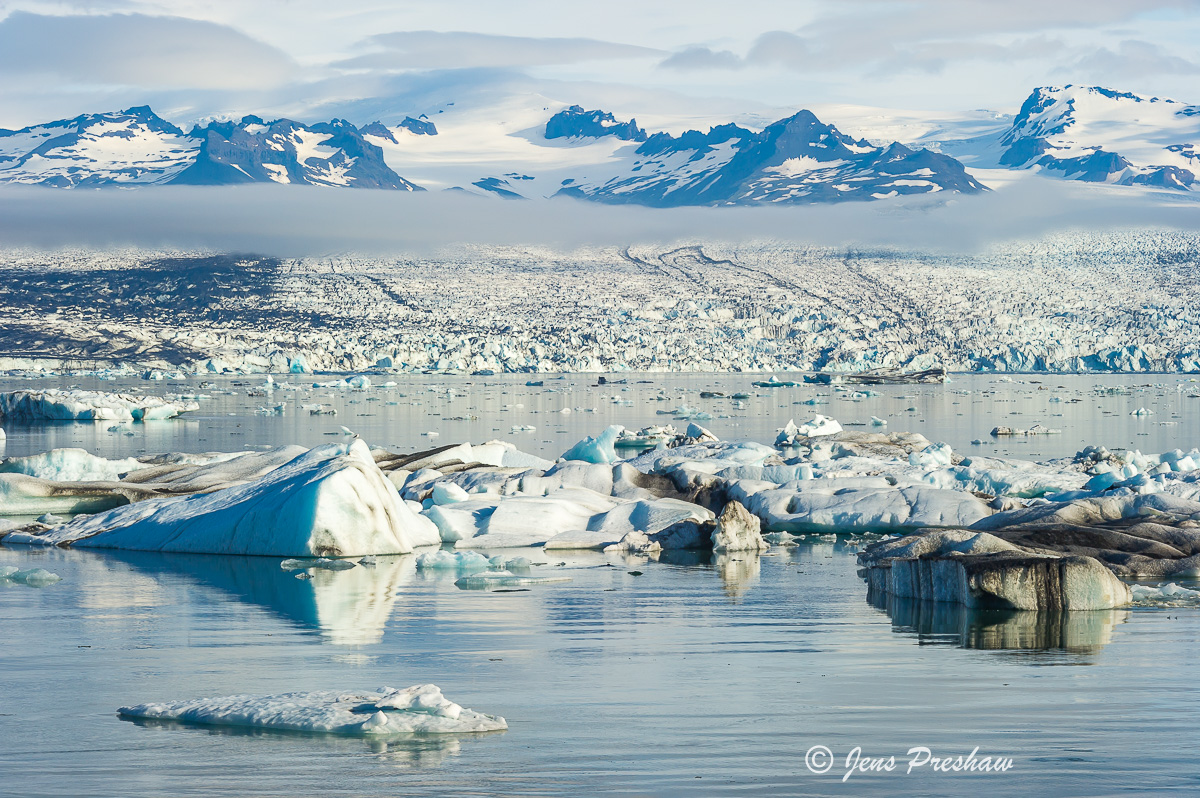 icebergs, glacial lagoon, contains, glacier, Jokulsarlon, Iceland, summer, photo
