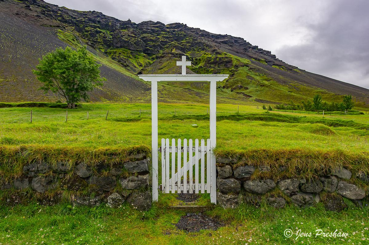 gate, graveyard, south Iceland, summer