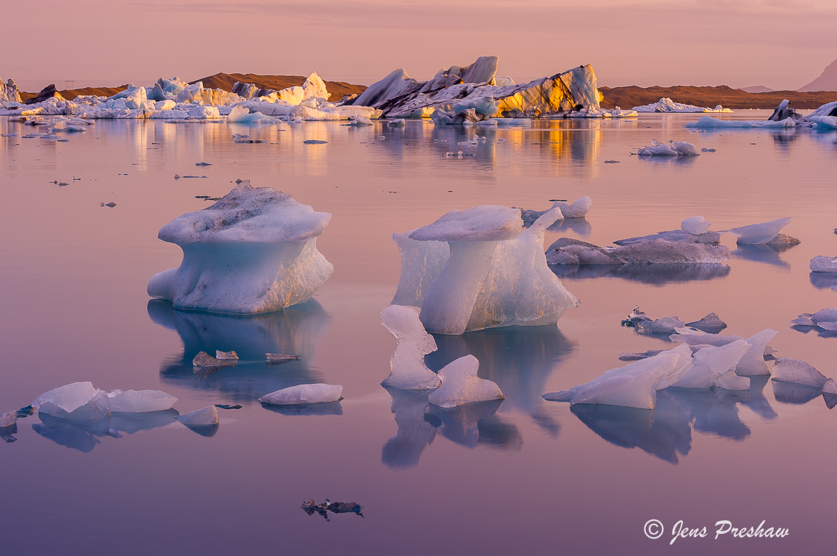 glacier lake, icebergs,  Jokulsarlon, Vatnajokull National Park, South Iceland, sunset, summer, photo