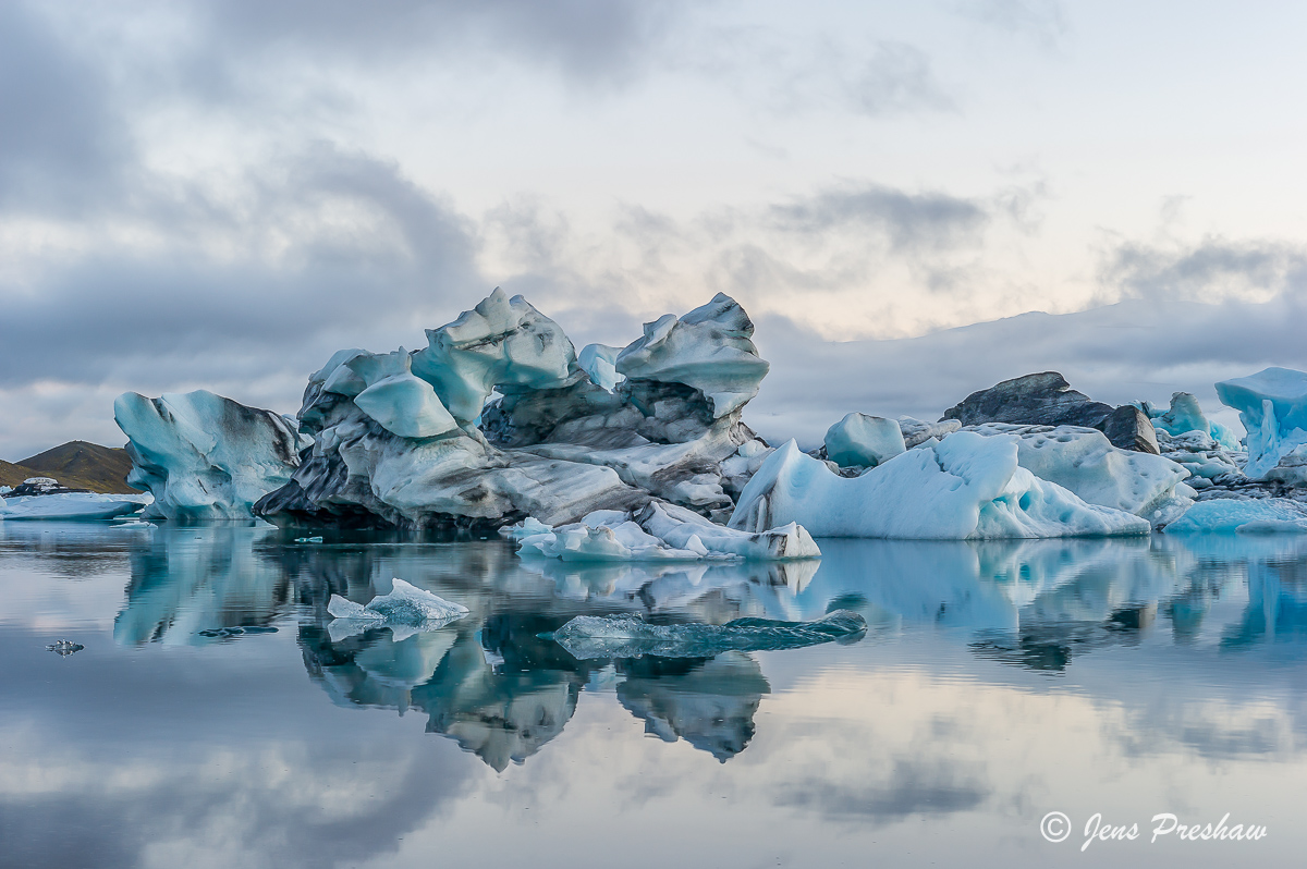 South Iceland, icebergs, Jokulsarlon, glacial lake, glacier, summer, sunset, photo