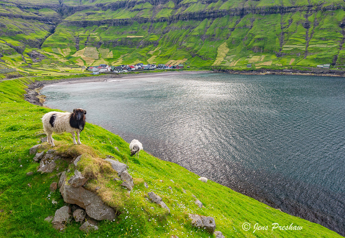 Tjornuvik, botnur, village, Streymoy, Faroe Islands, North Atlantic ocean, summer, photo