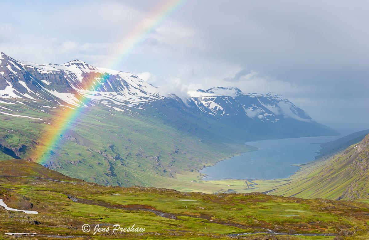 Mjoifjordur, fjord, rainbow, rain shower, East Iceland, summer, photo