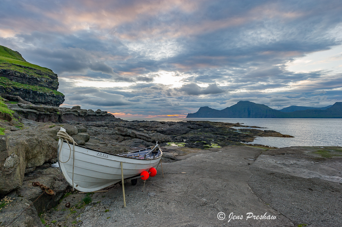 fishing boat, Gjogv, Eysturoy, Faroe Islands, sunrise, summer, North Atlantic Ocean, photo