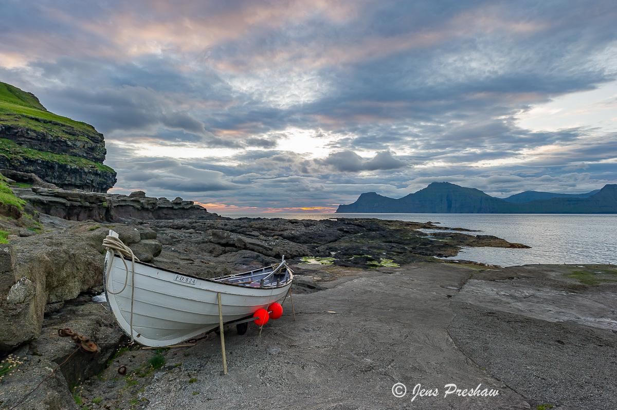 fishing boat, Gjogv, Eysturoy, Faroe Islands, sunrise, summer, North Atlantic Ocean, photo