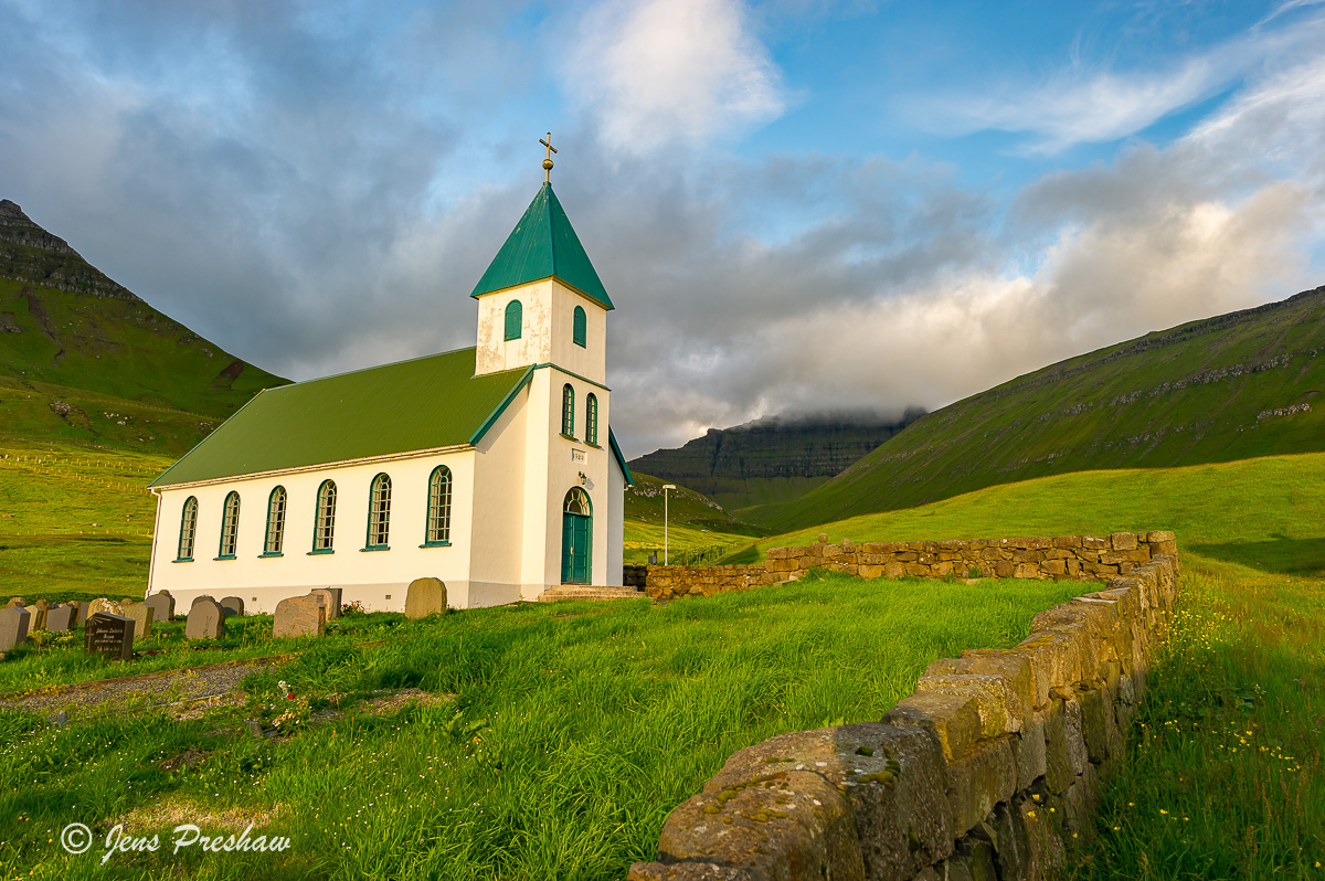 church, sunrise, graveyard, Gjogv, Eysturoy, Faroe Islands, summer, photo
