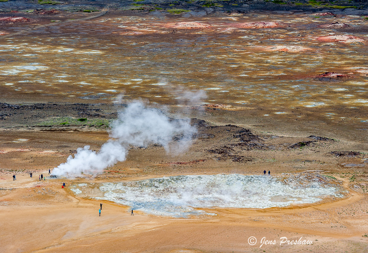 Hverir, mud cauldrons, steaming vents, mineral deposits, fumaroles, North Iceland, summer, photo