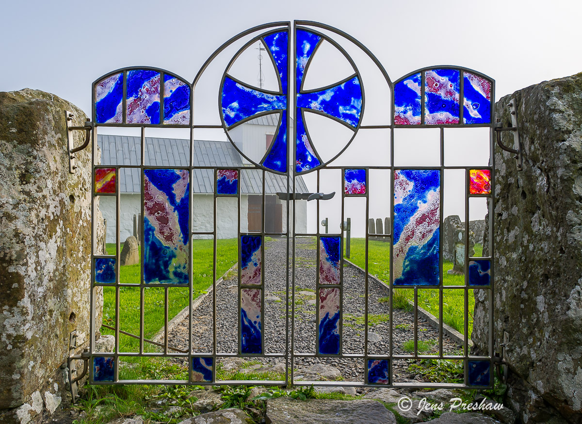 church gate, stained glass, parish, Olavskirkjan, St Olav, Kirkjubour, Streamy, Torshavn area, Faroe Islands, summer, photo