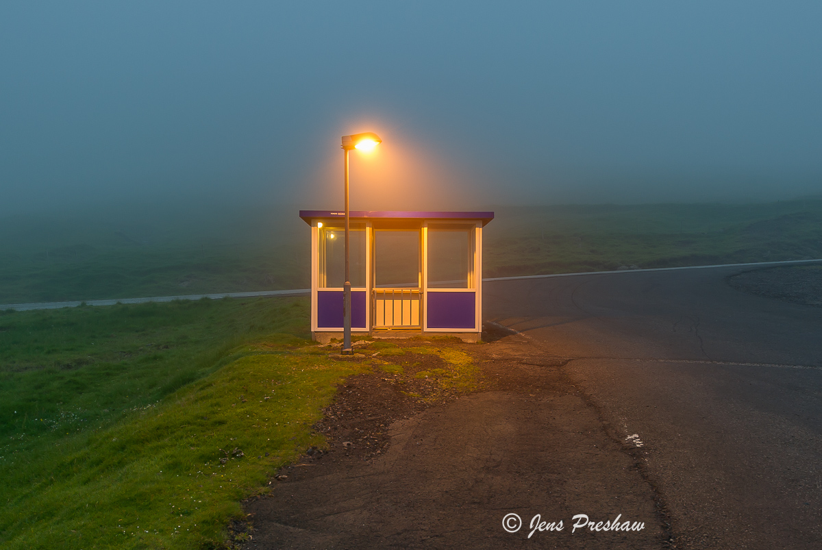bus stop, fog, Faroe Islands, summer, photo