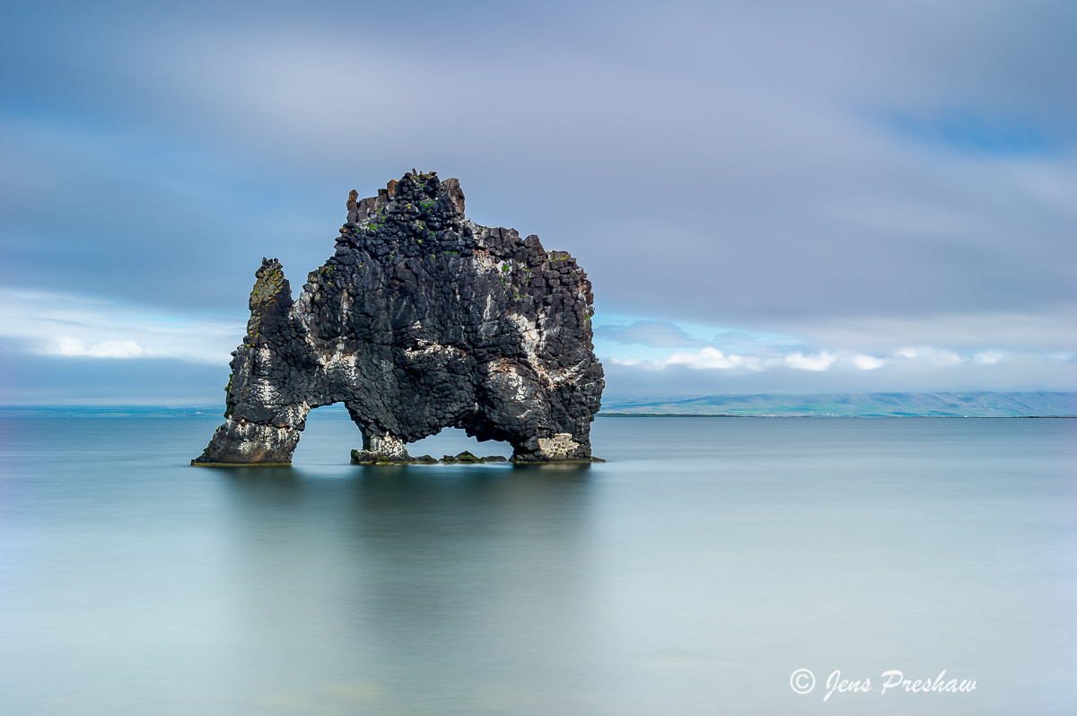 Hvitserkur, troll, stone cow, sea stack, Iceland, summer, photo