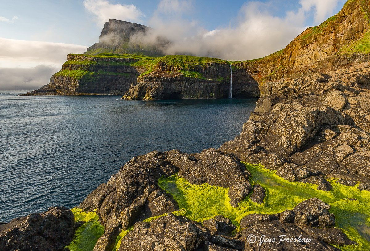 green algae, waterfall, village, Gasadalur, Vagar, Faroe Islands, North Atlantic ocean, summer , photo