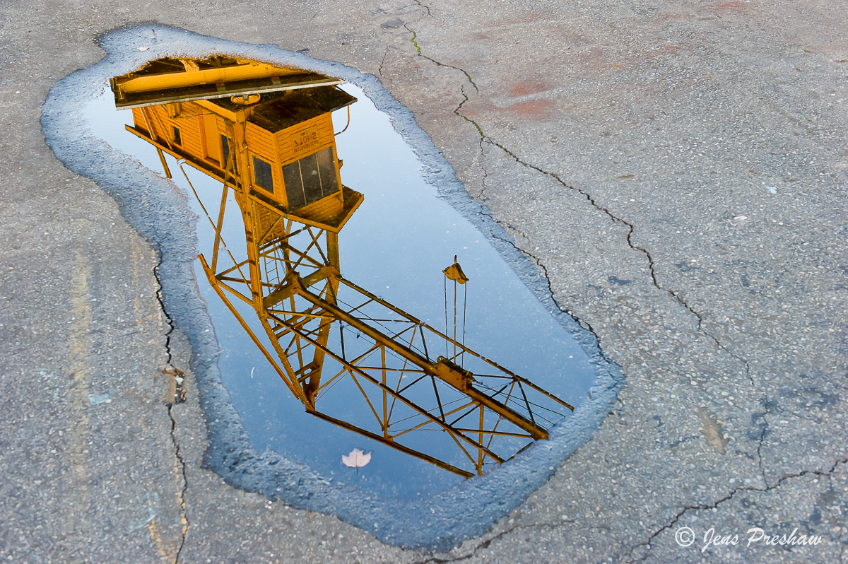 Crane, Puddle, Granville Island, False Creek, Vancouver, British Columbia, Canada, photo