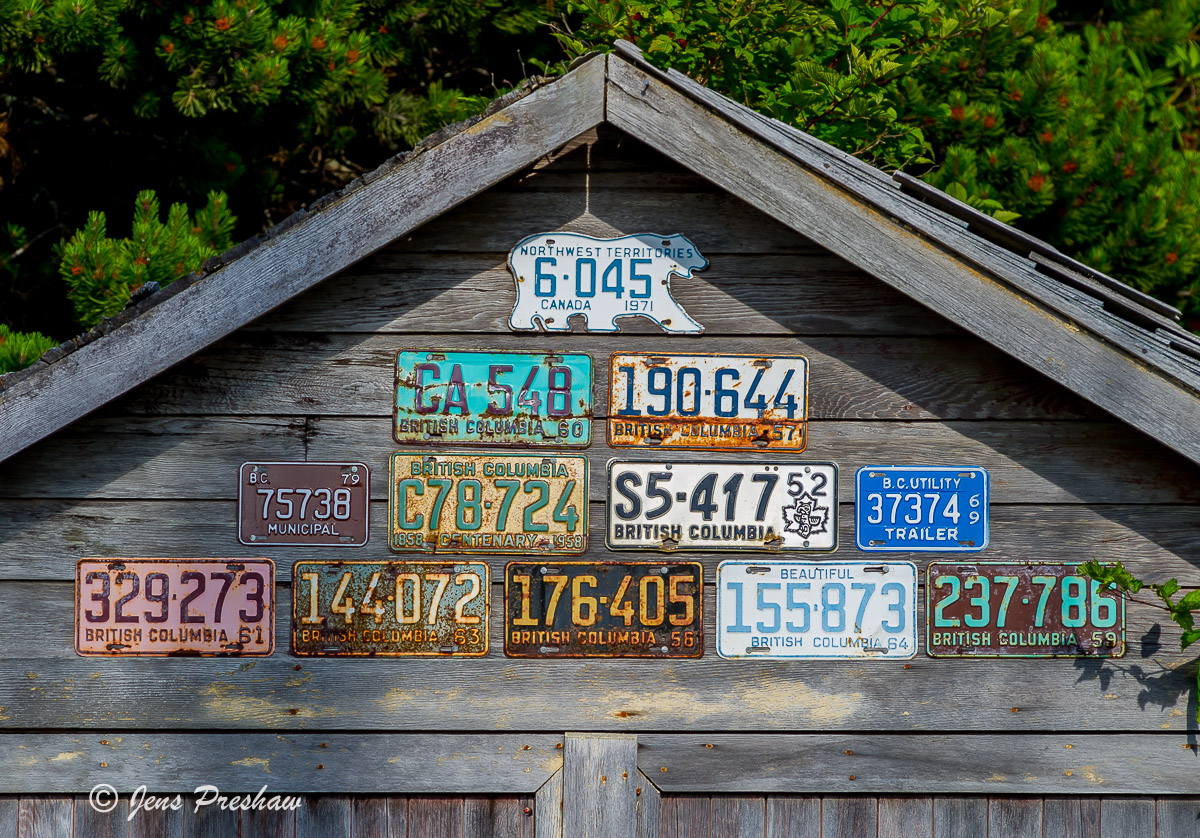 License Plates, Garage, Tofino, Vancouver Island, British Columbia, Canada, Sunset, Summer, photo