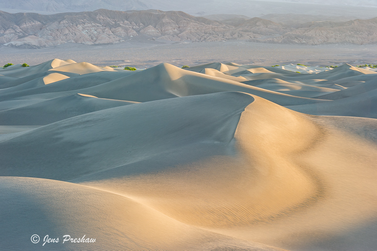 Sand Dunes, Sunrise, Mountains, Mesquite Flats, Death Valley National Park, California, USA, photo