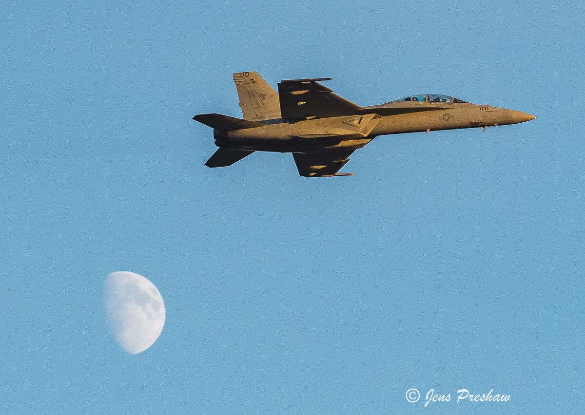 USN F/A - 18 Super Hornet, Abbotsford, British Columbia, Canada, Moon, Dusk, Summer, Sunset , photo