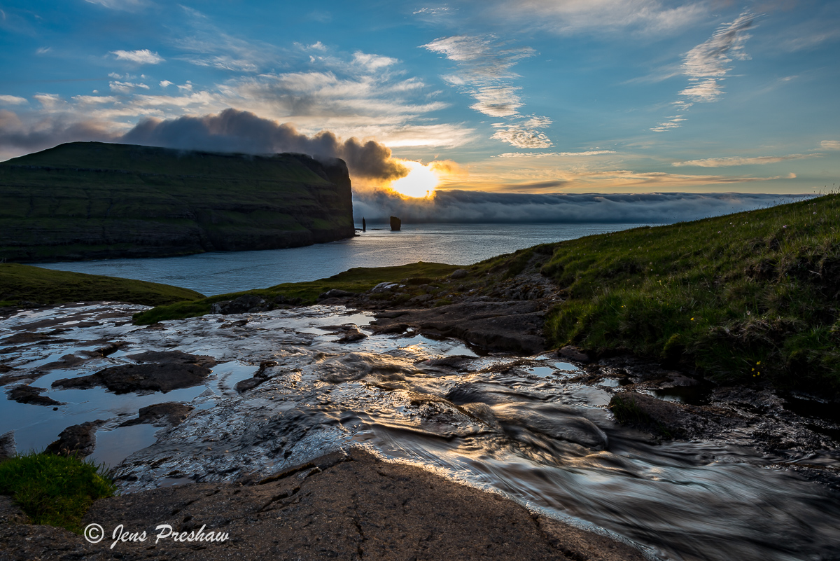 Eioi village, stream, sunset, Risin, Kellingin, sea stacks, Eysturoy, Faroe Islands, North Atlantic ocean, summer , photo