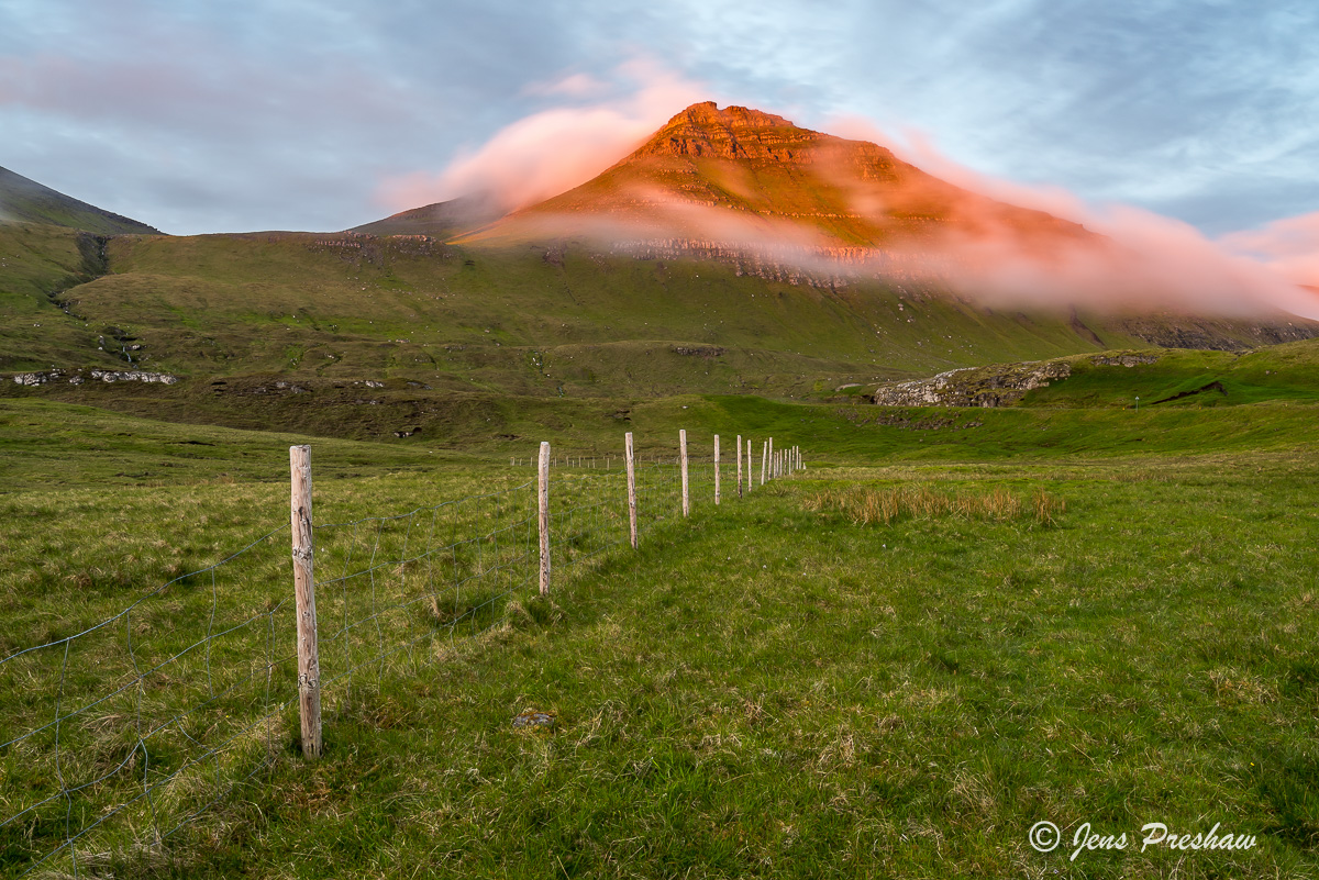 mountain, last light, mist, fence posts, Eysturoy, Faroe Islands, sunset, summer, photo