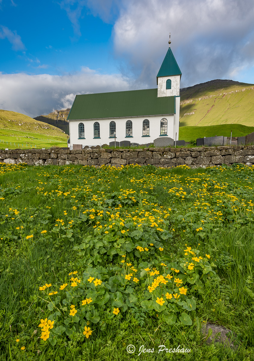 Gjógv, Church, Marsh Marigold Flowers, Eysturoy, Faroe Islands, Summer, Village, photo