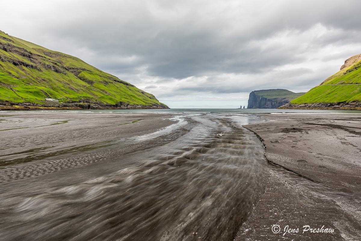 black sand beach, Tjornuvik, Stremoy, Faroe Islands, summer, photo
