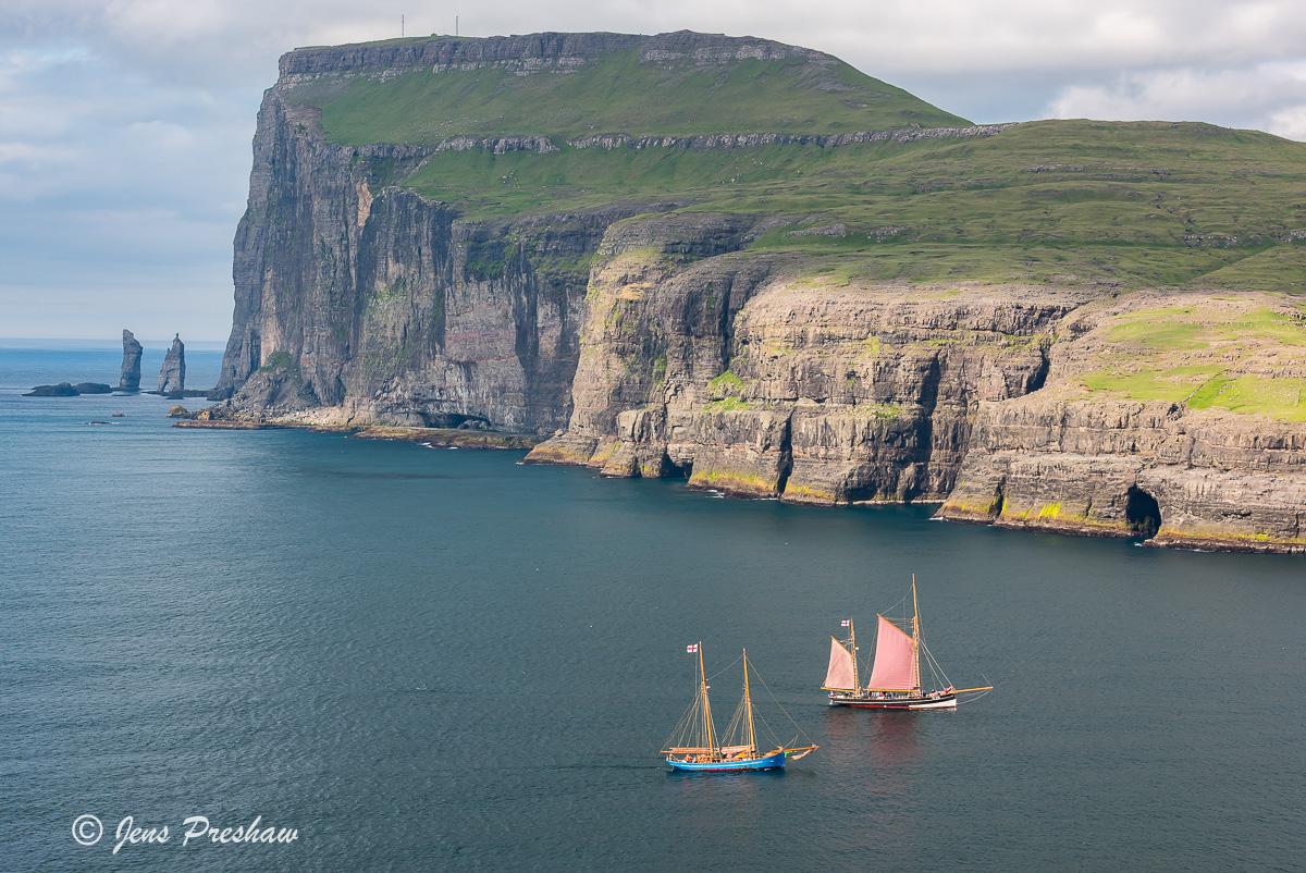 wooden sailing ships, Eioi, Foroya Regatta, Eysturoy, Sundini, Kellingin, Risin, sea stacks, North Atlantic ocean, summer, photo