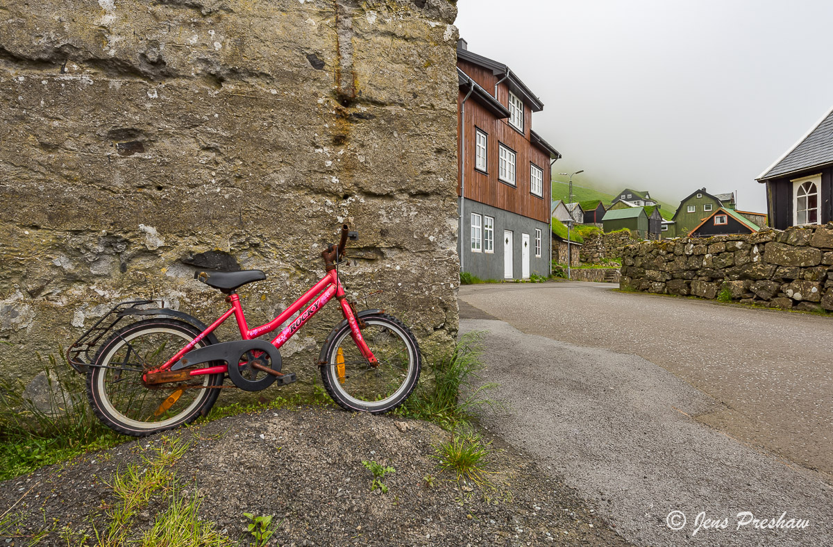 bicycle, Bour, Vagar, Faroe Islands, Village, Summer, photo
