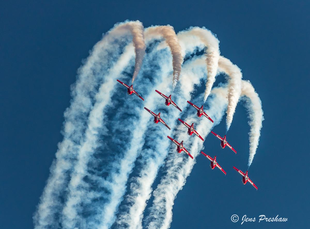 Snowbirds, Canadair CT-114 Tutor, Airshow, Nine Plane Formation, British Columbia, Canada, Summer, photo