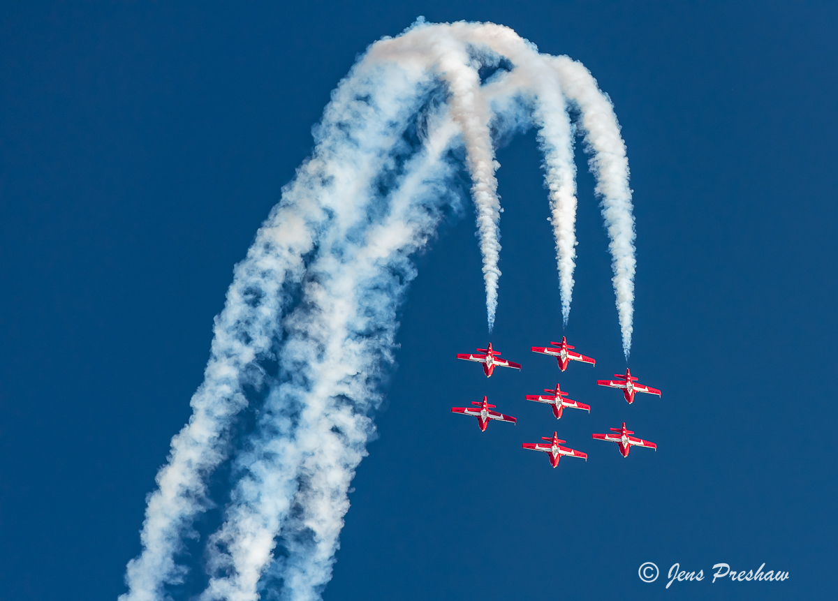 Snowbirds, Canadair CT-114 Tutor, Seven Plane Formation, Abbotsford Airshow, Dusk Performance, Abbotsford, British Columbia, Canada, Summer, photo