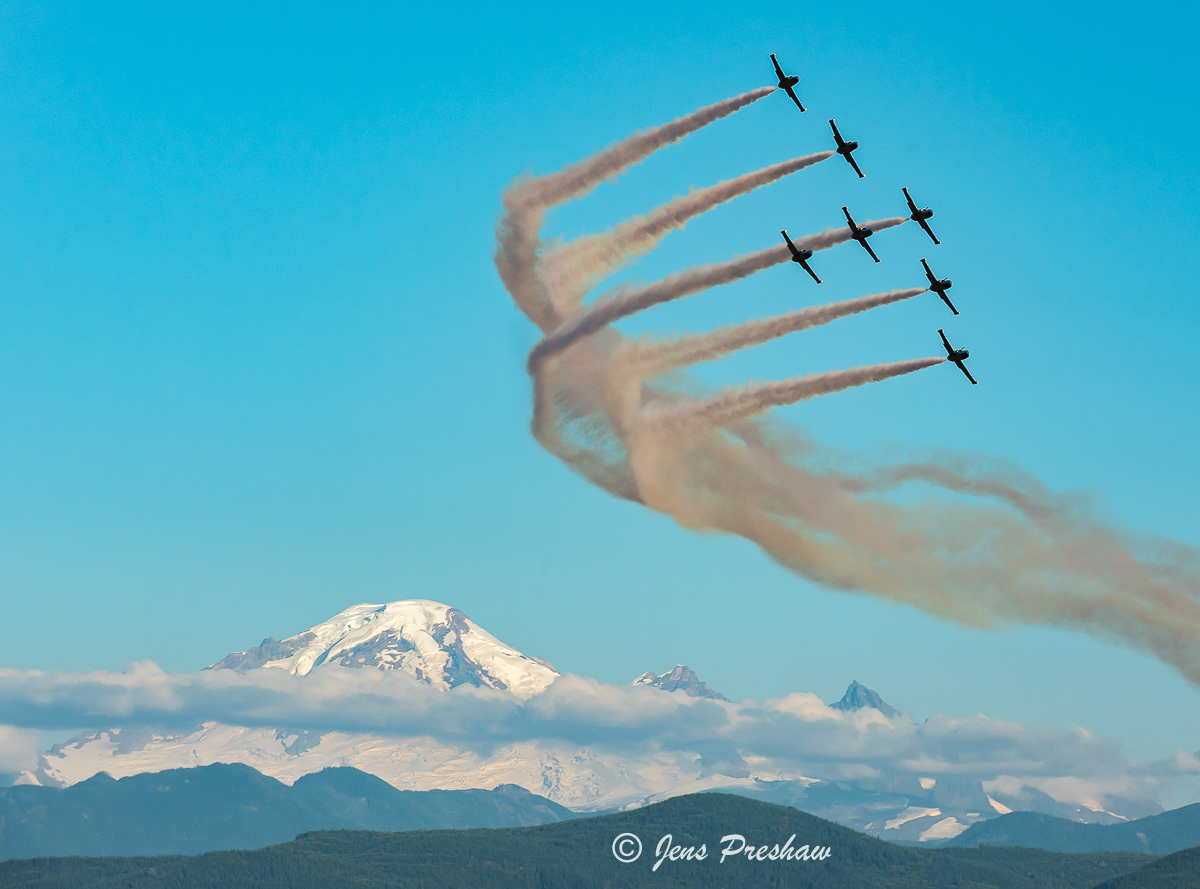 Breitling Jet Team, Mount Baker, Abbotsford Airshow, Abbotsford, British Columbia, Dusk Performance, Canada, Summer, photo