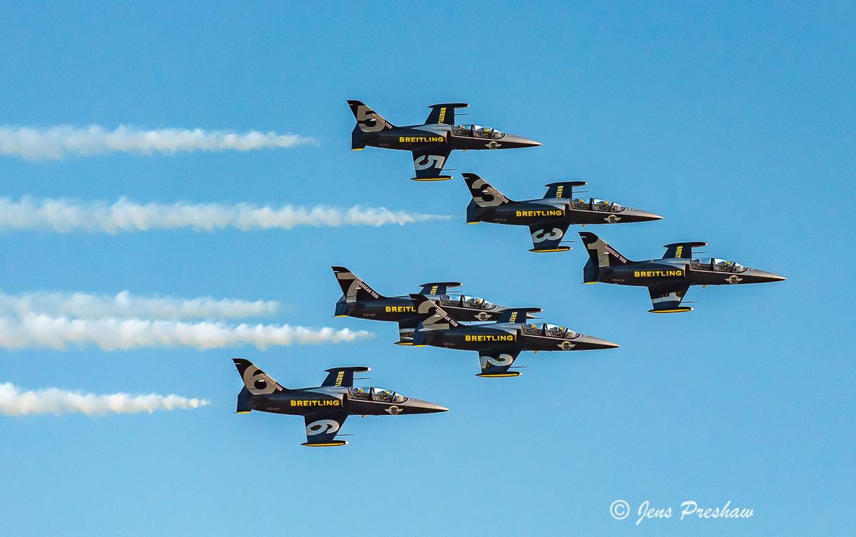 Breitling Jet Team, Abbotsford Airshow, Abbotsford, British Columbia, Canada, Dusk Performance, Summer, photo