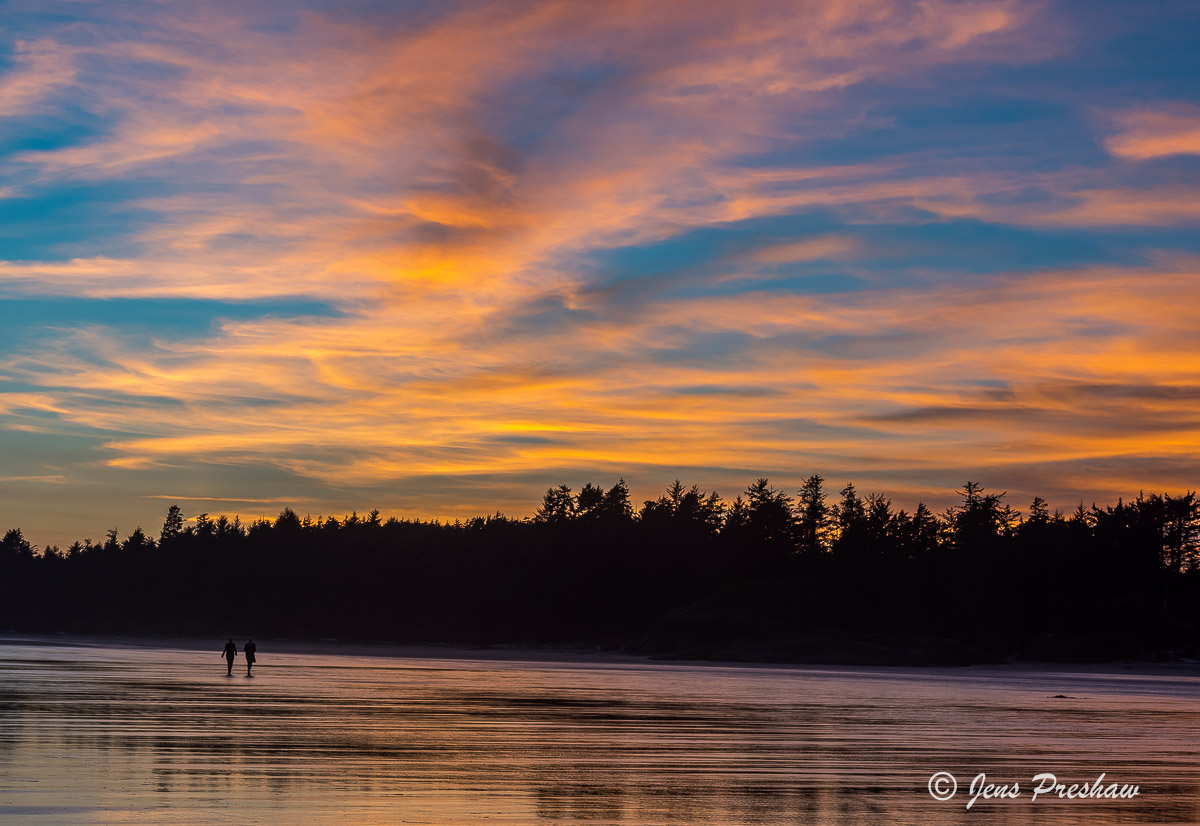 Long Beach, Sunset, Cirrus Clouds, Pacific Rim National Park Reserve, Tofino, Vancouver Island, British Columbia, Canada, Pacific Ocean, Summer, photo