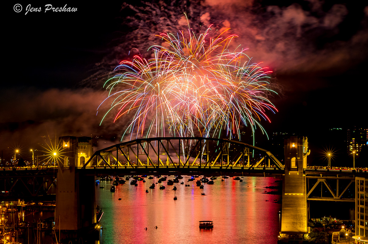 Fireworks, Burrard Street Bridge, False Creek, Vancouver, British Columbia, Canada, Summer, photo
