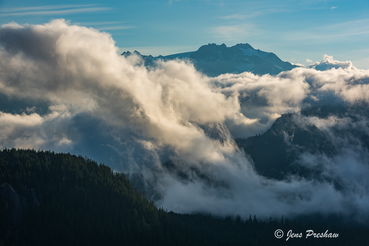 Mamquam mountain, Garibaldi Provincial Park, Coast mountains, British Columbia, sunrise, clouds, mist, summer, photo