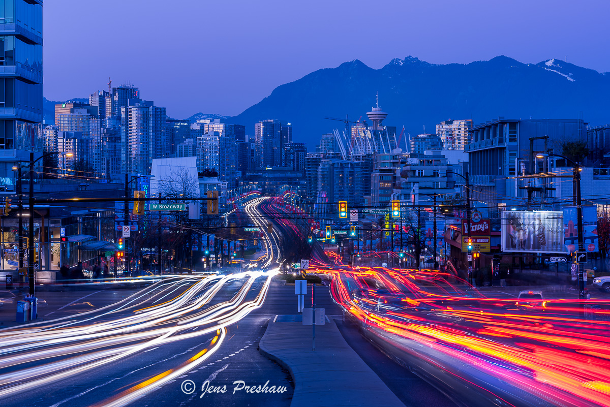 blue hour, rush hour, traffic, cars, light trails, downtown Vancouver, Mount Pleasant, Fairview Slopes, night, headlights, taillights, Fall, North Shore mountains, Broadway Avenue, Cambie Street, photo