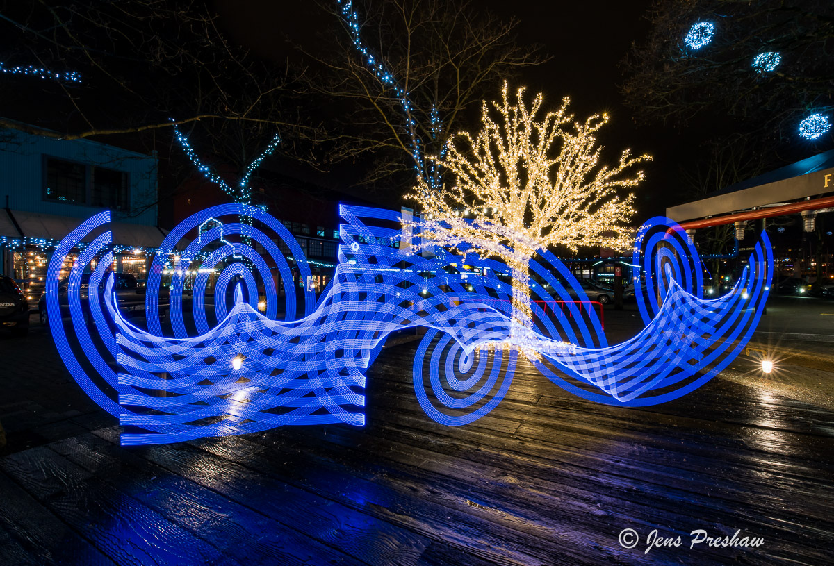 pixel stick, painting with light, blue, night photography, Granville Island, Vancouver, British Columbia, winter, photo