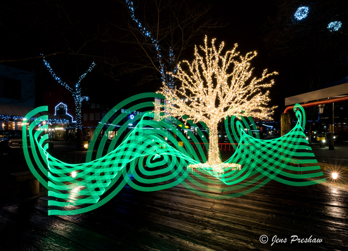 painting with light, light stick, night photography, Christmas lights, Granville Island, Vancouver, British Columbia, Canada, winter, photo