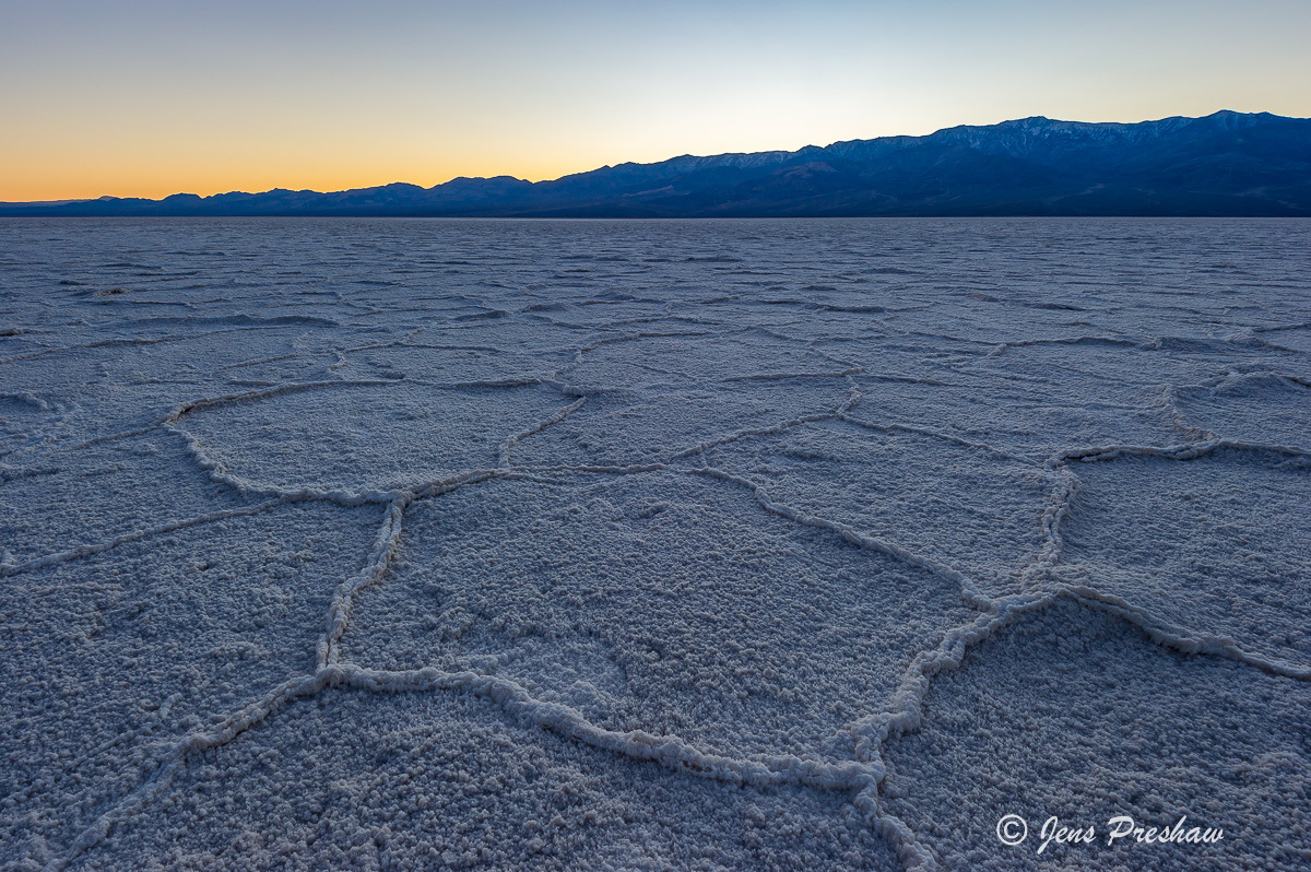 salt formations, sunset, Badwater, Death Valley National Park, California, U.S.A., winter, photo