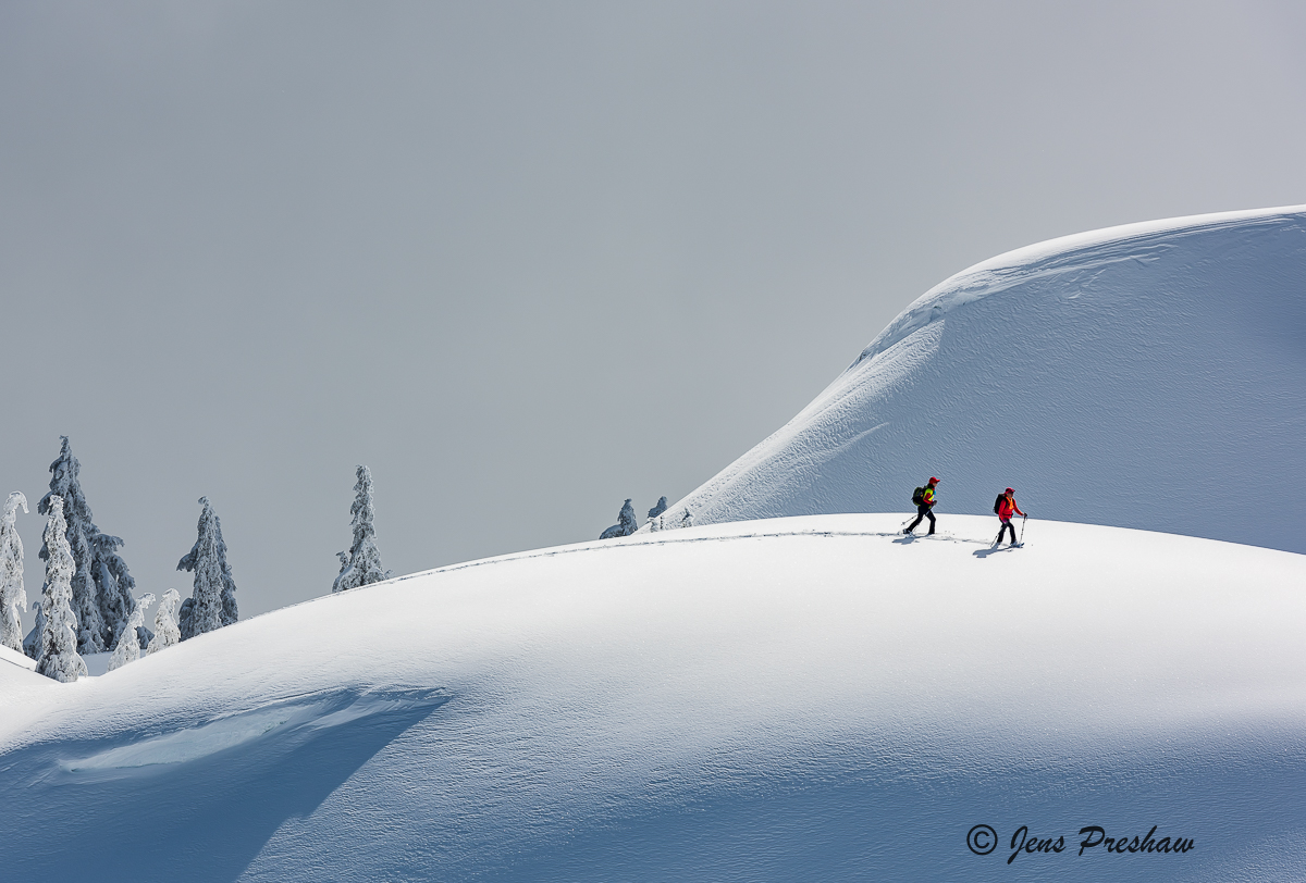 Two snowshoers enjoying the fresh snow near the summit of Mount Seymour.