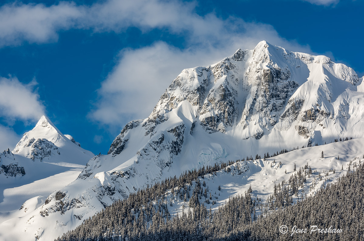 Joffre Peak, Mount Matier, Aussie Couloir, Anniversary Glacier, Coast Mountains, Duffy Lake Road, British Columbia, Canada, Clouds, Fresh Snow, photo