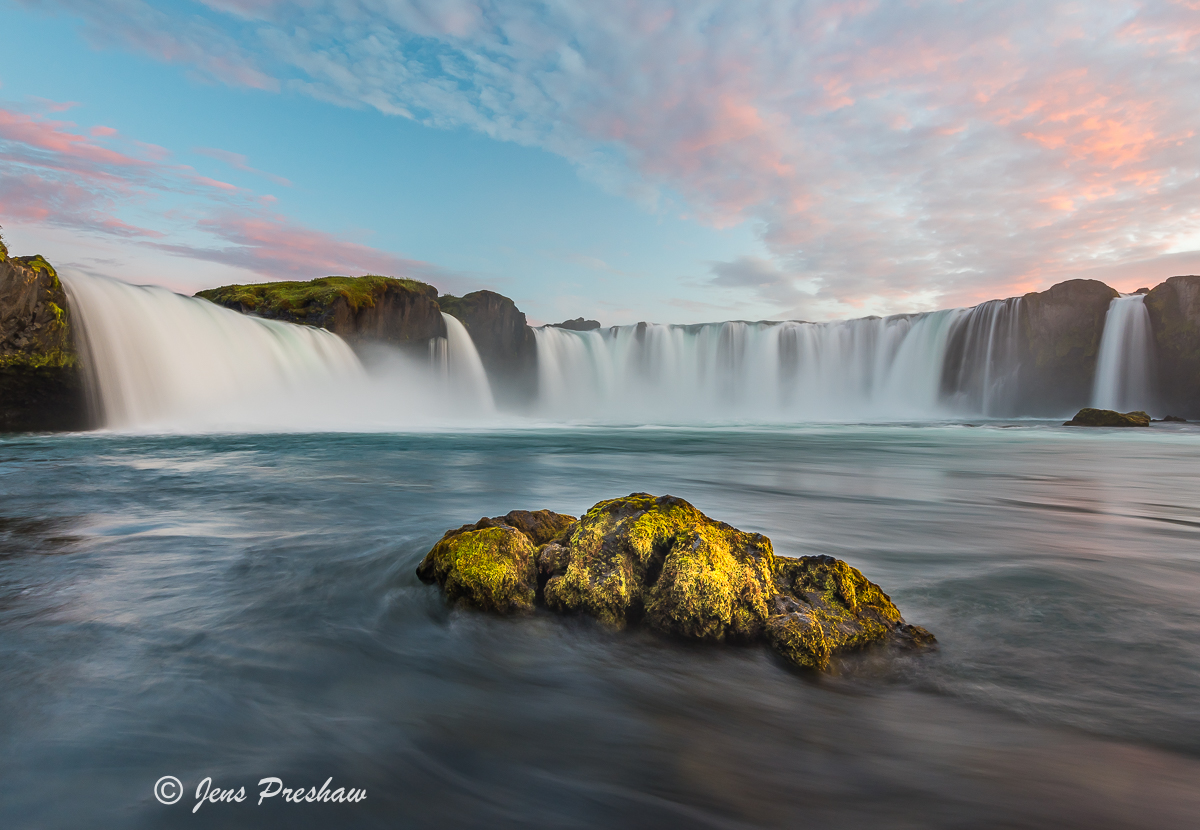 Goðafoss, Waterfall of the Gods, Skjálfandafljót River, Bárðardalur District, North-Central Iceland, Sunset, Summer, photo