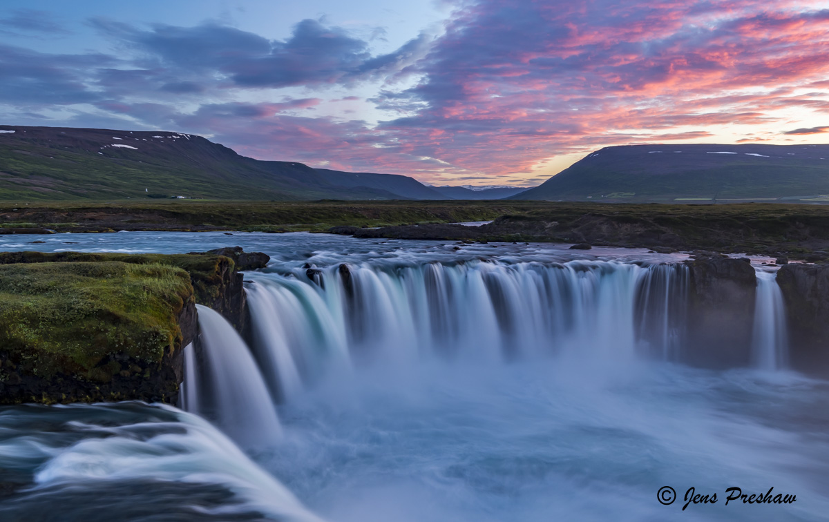 Goðafoss, Skjálfandafljót, Bárðardalur valley, Sprengisandur, beauty, North Central Iceland, Sunset, Summer, photo
