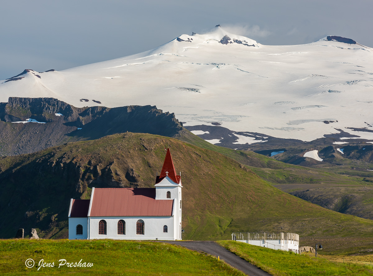 Ingjaldshóll, Church, Hellissandur, Snaefellsjokull, Snæfellsnes Peninsula, West Iceland, Summer, Glacier, Mountain, photo