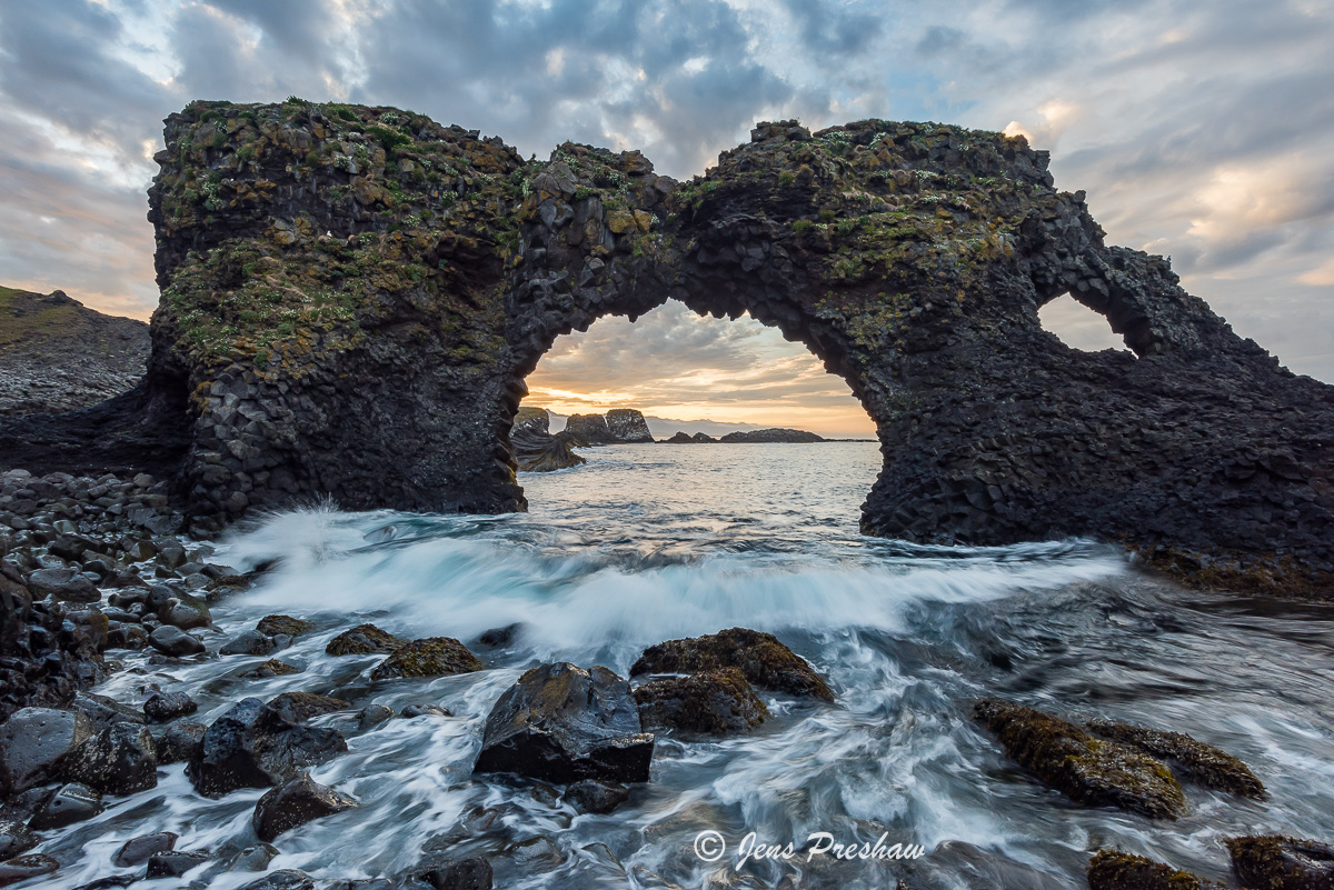 Gatklettur, Arch Rock, Arnarstapi, Stapi, Hellnar, Village, Snæfellsnes Peninsula, West Iceland, North Atlantic Ocean, Sunrise, Summer