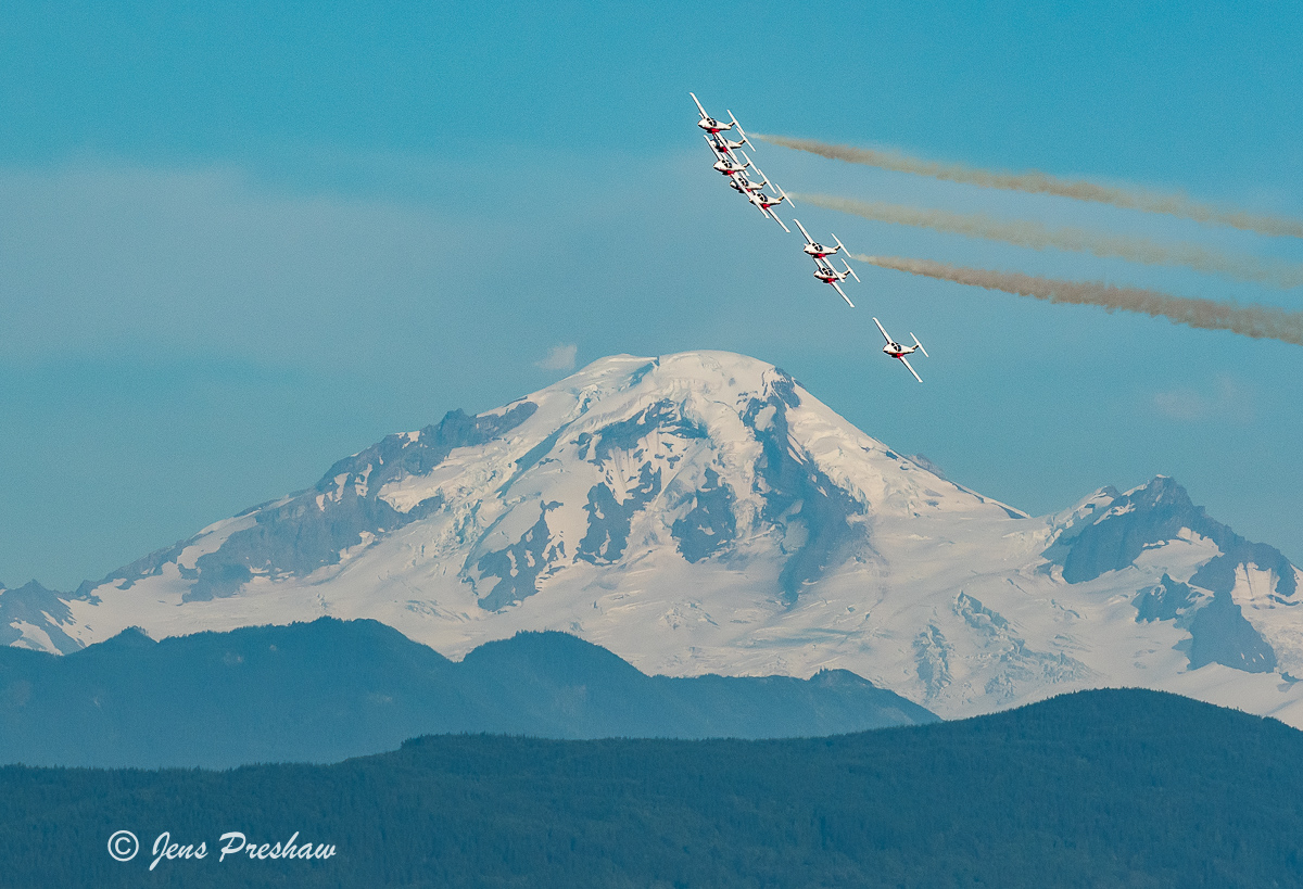 Canadian Forces Snowbirds, 431 Air Demonstration Squadron, Mount Baker, Abbotsford, British Columbia, Canada, Summer, Sunset, photo
