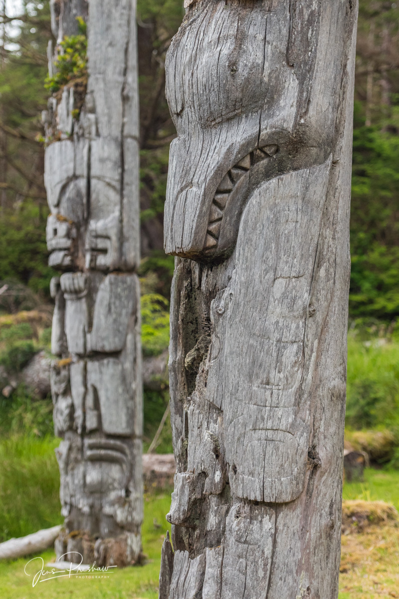Mortuary Pole, Memorial Pole, SGang Gwaay, Ninstints, Nans Dins, Killer Whale Mortuary Pole, UNESCO World Heritage Site, Anthony Island, Gwaii Haanas National Park Reserve, Haida Gwaii, British Columb, photo
