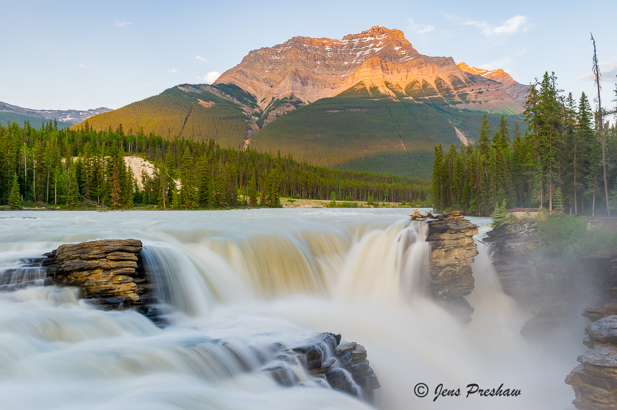 Athabasca Falls, Mount Kerkeslin, Sunset, Jasper National Park, Rocky Mountains, Alberta, Canada, Summer, photo